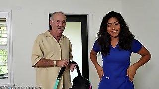 Big-Breasted Ebony Nurse Fucks With A Real Old Man