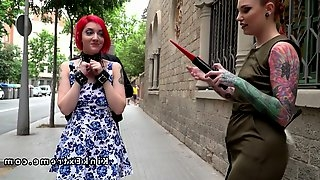 Redhead slave electro shocked in public