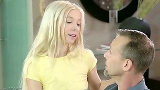 Female cuckold is watching how husband fucks sweet looking blonde Kenzie Reeves