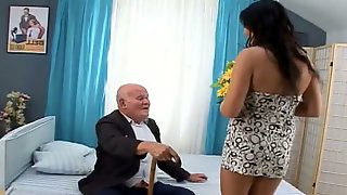 Perky hooker with small cock takes off her clothes and fucks old grandpa