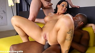 Mature whore Simony Diamond filled with a black and a white dick