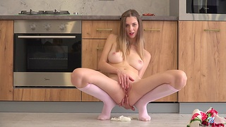 Horny solo unreserved Sandra Phoenix enjoys playing in the kitchen