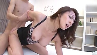 Horny Asian matured with glasses spreads legs to be fucked permanent